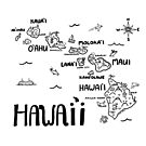 Hawaii Illustrated Map Black and White by Claire Lordon