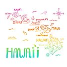 Hawaii Illustrated Map Rainbow Color by Claire Lordon
