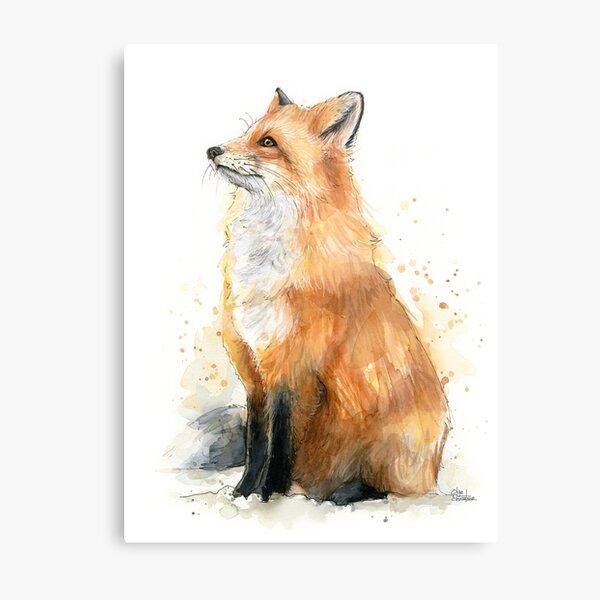 Watercolor Fox Painting Metal Print