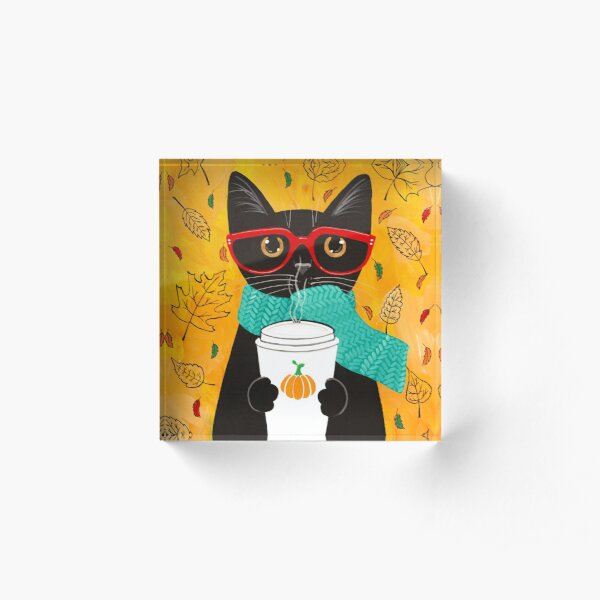 Pumpkin Coffee Cat Acrylic Block