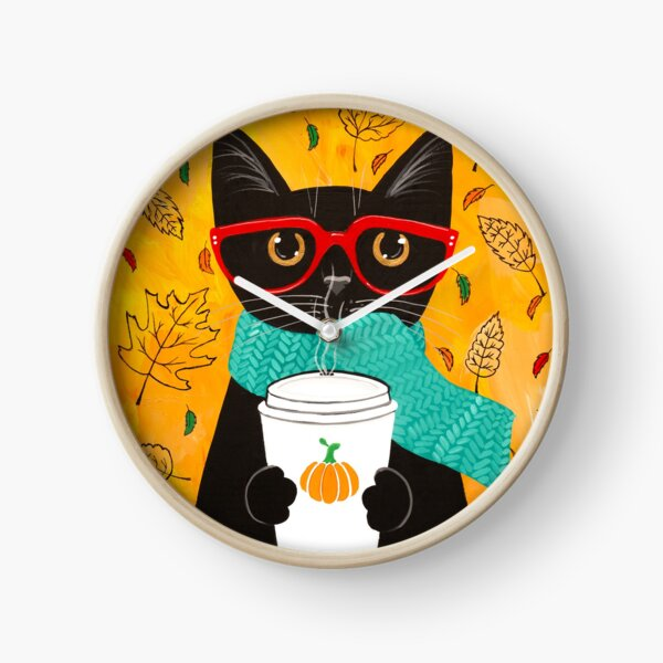 Pumpkin Coffee Cat Clock