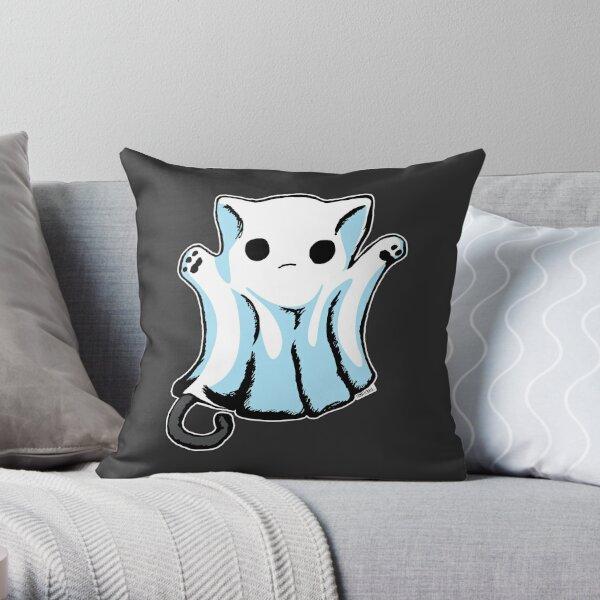 Cute Boo Ghost Cat Halloween Throw Pillow