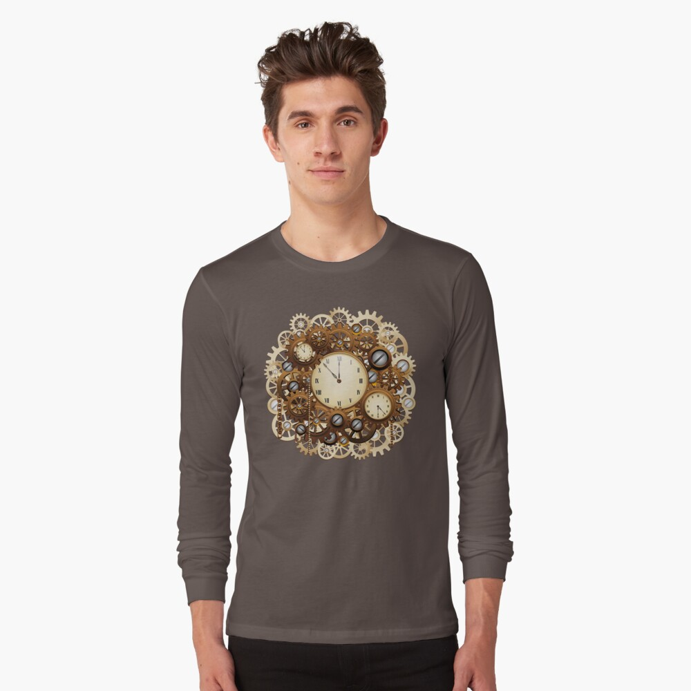 Steampunk Clocks and Gears Vintage Style  Long Sleeve T-Shirt