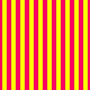Super Bright Neon Pink and Yellow Vertical Beach Hut Stripes by podartist