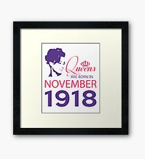 It's My Birthday 100. Made In November 1918. 1918 Gift Ideas. Framed Print