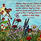 Flower Meadow - with Philippians 4:8 Bible Verse by EuniceWilkie