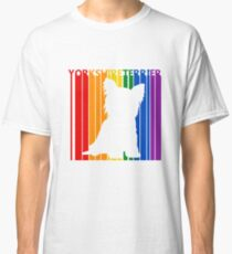 Funny Cute Rainbow Yorkshire Terrier Dog Classic T-Shirt
