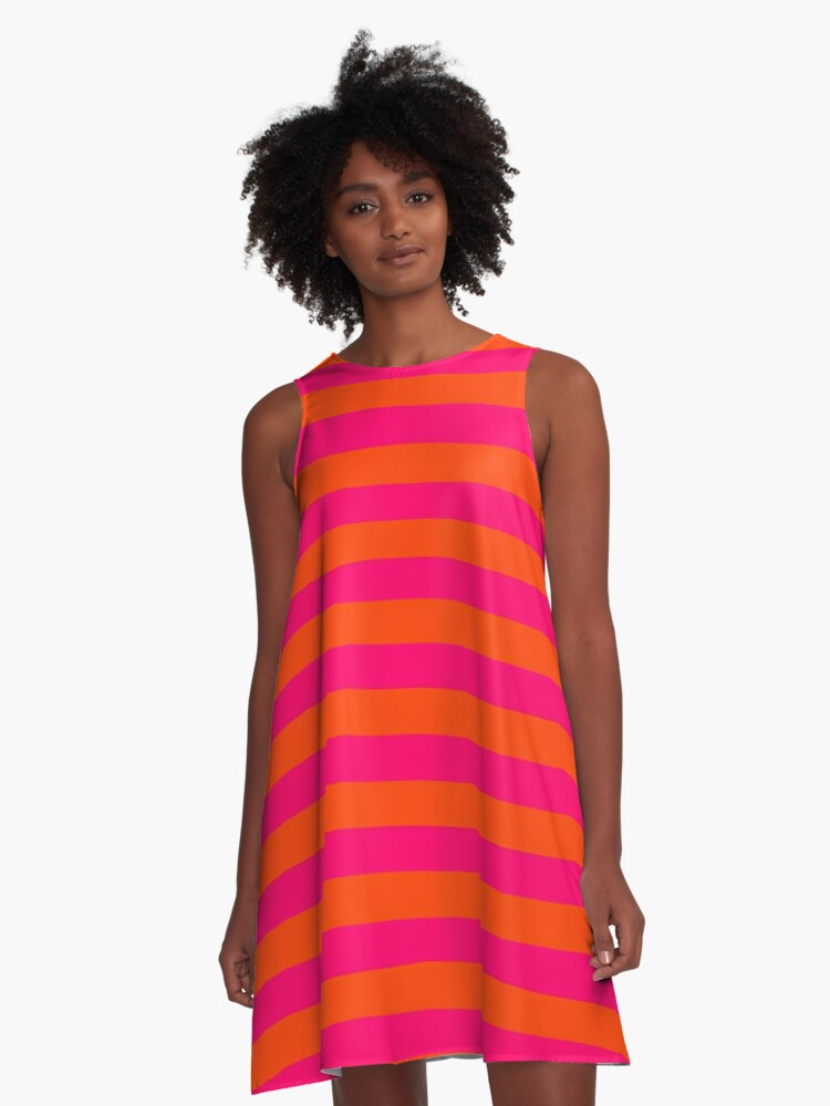 Super Bright Neon Pink And Orange Horizontal Beach Hut Stripes A