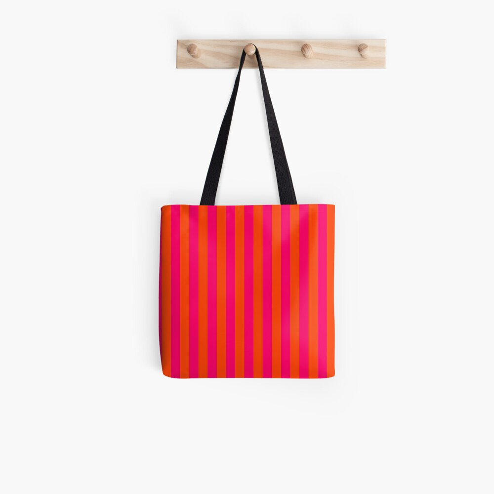 Super Bright Neon Pink and Orange Vertical Beach Hut Stripes Tote Bag