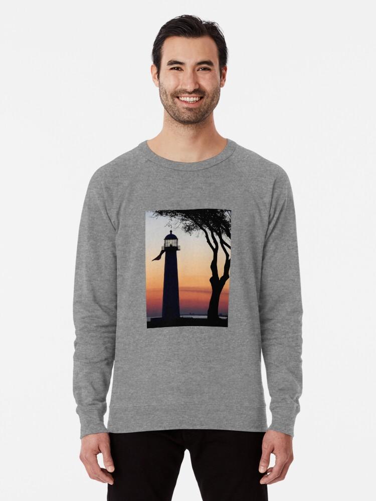 The Biloxi Lighthouse After Sunset Lightweight Sweatshirt By