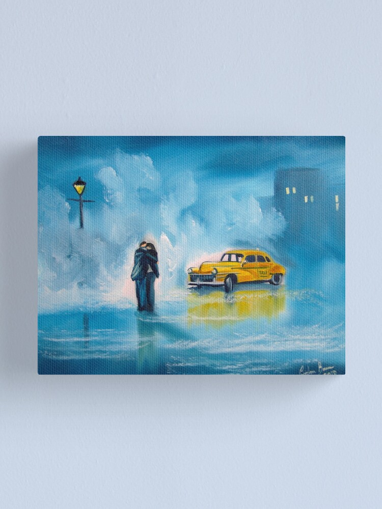 Alternate view of The reunion RAINY DAY COUPLE YELLOW TAXI CAB  Canvas Print