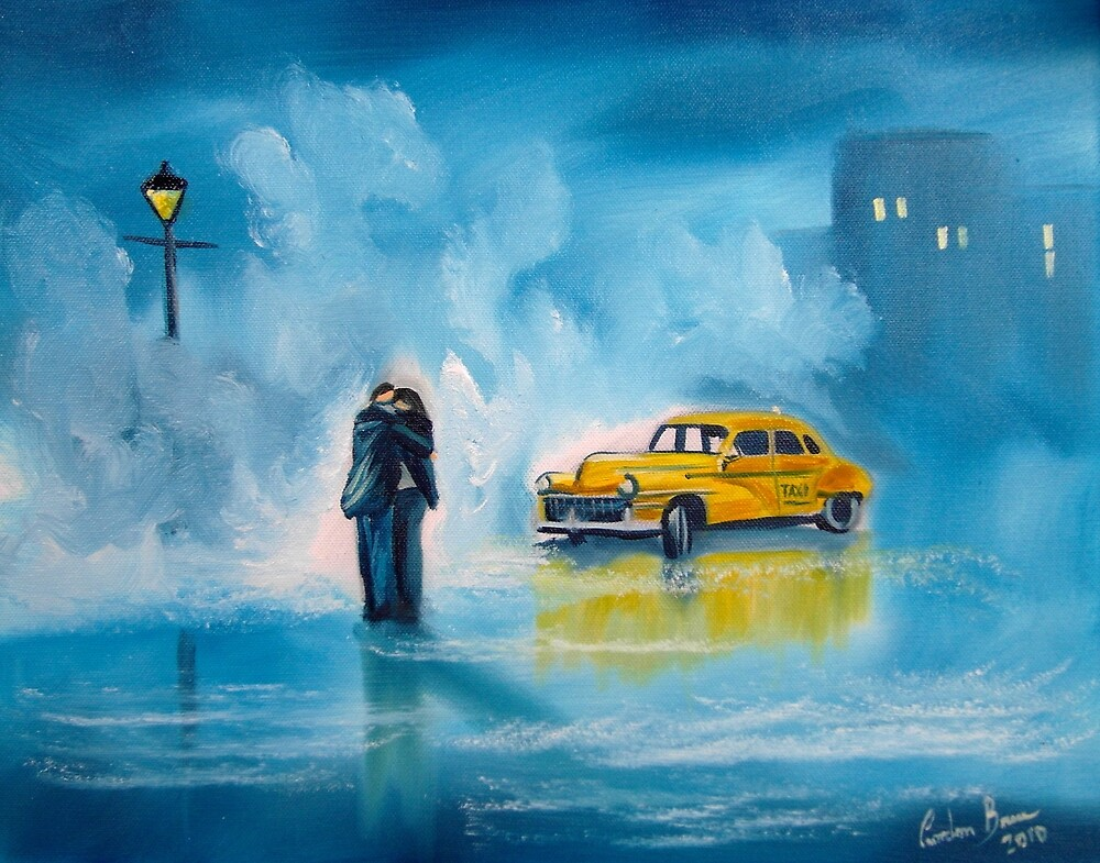 The reunion RAINY DAY COUPLE YELLOW TAXI CAB  by GORDON BRUCE ART