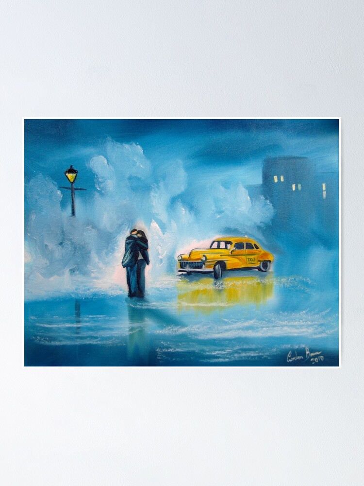 Alternate view of The reunion RAINY DAY COUPLE YELLOW TAXI CAB  Poster