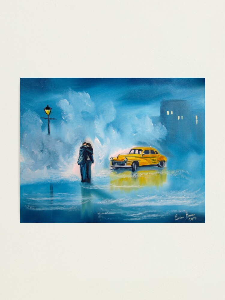 Alternate view of The reunion RAINY DAY COUPLE YELLOW TAXI CAB  Photographic Print