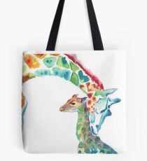 Giraffe Mommy and Baby Tote Bag