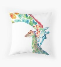 Giraffe Mommy and Baby Throw Pillow
