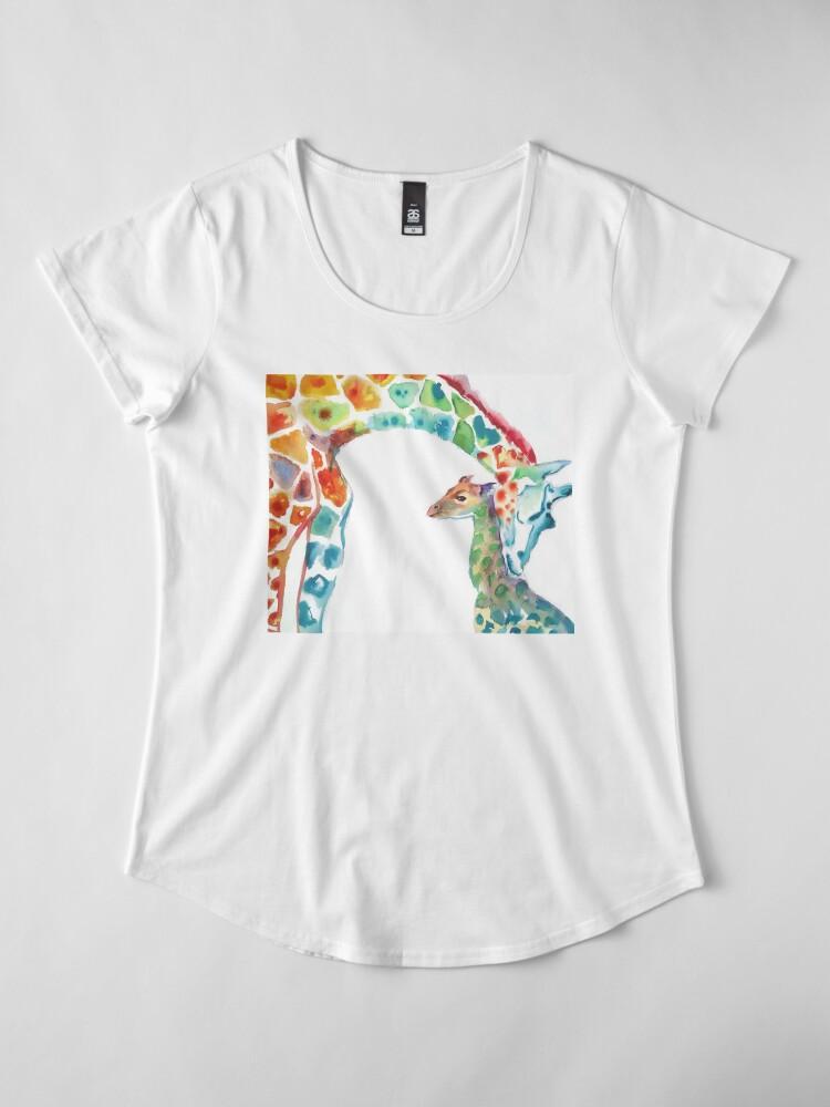 Alternative Ansicht von Giraffe Mama und Baby Premium Rundhals-Shirt