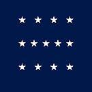 13-Star American Flag, 4–5–4 Design, Evry Heart Beats True by EvryHeart