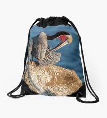 Brown Pelican In Mating Season Drawstring Bag