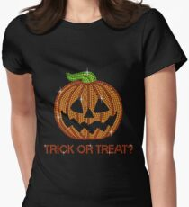 Pumpkin Printed Rhinestone Trick or Treat Jackolantern Tshirt T-Shirt