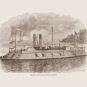 Ironclad River Gunboat Engraving - Union Civil War by warishellstore