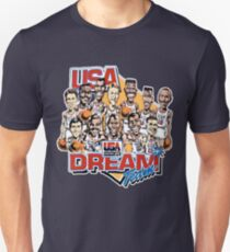 USA-Traumteam-Retro- Karikatur getragenes Blick-T-Shirt Slim Fit T-Shirt