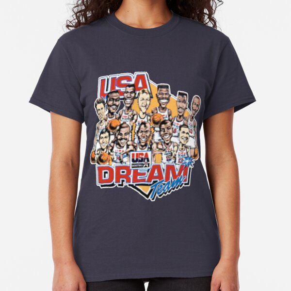 Usa Dream Team Retro Cartoon Worn Look T Shirt Classic T-Shirt