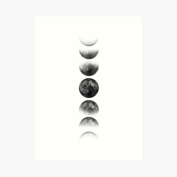 Fases de la luna - Negro Lámina artística