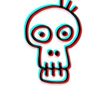 Cute Trippy Skull Head by AaronKinzer