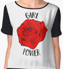 Girl Power Gift For Woman Cool Red Rose Feminist Gift Chiffon Top