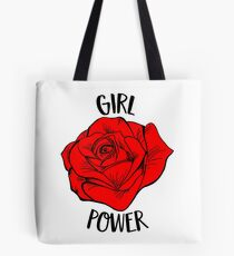 Girl Power Gift For Woman Cool Red Rose Feminist Gift Tote Bag