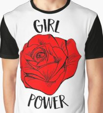 Girl Power Gift For Woman Cool Red Rose Feminist Gift Graphic T-Shirt