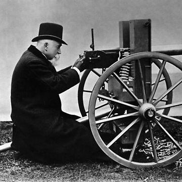 Hiram Maxim firing his Maxim Machine Gun - 1884 by warishellstore