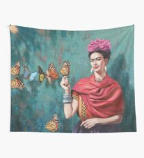 Frida Kahlo and Butterfly Wall Tapestry