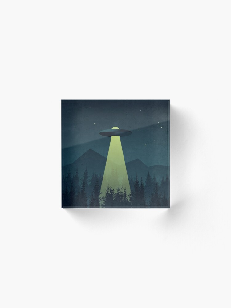 Alternate view of Forest UFO Night Acrylic Block