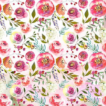 Floral Watercolour Roses Peonies P8 | BLOOMS - FLORALS - GREENERY by mcaussieb