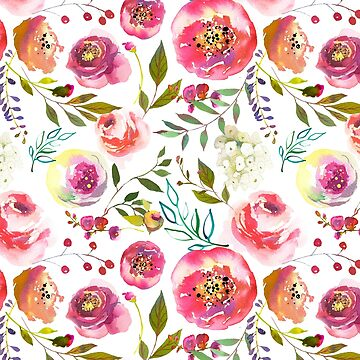 Floral Watercolour Roses Peonies P9 | BLOOMS - FLORALS - GREENERY by mcaussieb