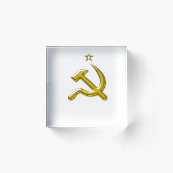 Soviet Union Sickle and Star Acrylic Block