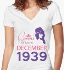 It's My Birthday 79. Made In December 1939. 1939 Gift Ideas. Women's Fitted V-Neck T-Shirt