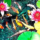 Koi and Water Lilies by GraphicAlchemy