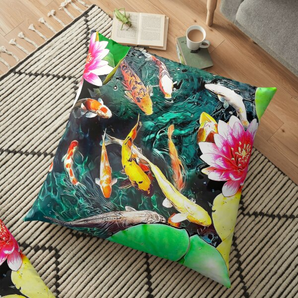 Koi and Water Lilies Floor Pillow