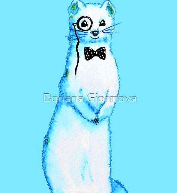 Cute Ferret Hipster With Monocle And Bow Tie by Boriana Giormova