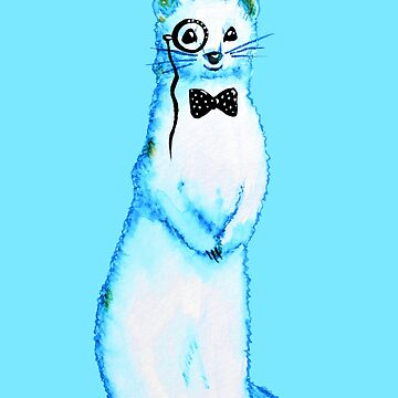 White Ferret Gentleman With Monocle And Bow Tie by azzza