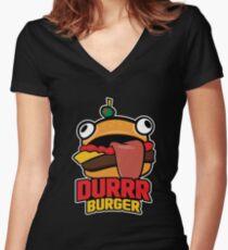 Durrr Burger Women's Fitted V-Neck T-Shirt