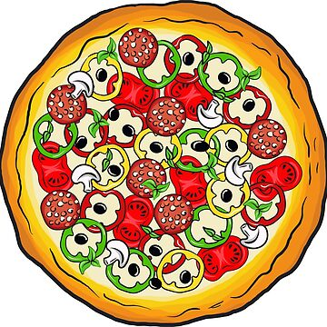 Handdrawn vector paint of pizza with cheese by amekamura