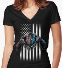 Black Knight American Flag Women's Fitted V-Neck T-Shirt