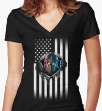 Black Knight amerikanische Flagge Version 2 Tailliertes T-Shirt mit V-Ausschnitt