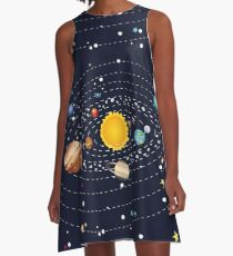Planets of Solar System A-Line Dress