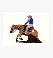 Palomino Quarter Horse Reining Horse Portrait Art Print