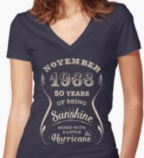 November 1968 Sunshine Hurricane - 50 Years of Being Awesome Women's Fitted V-Neck T-Shirt